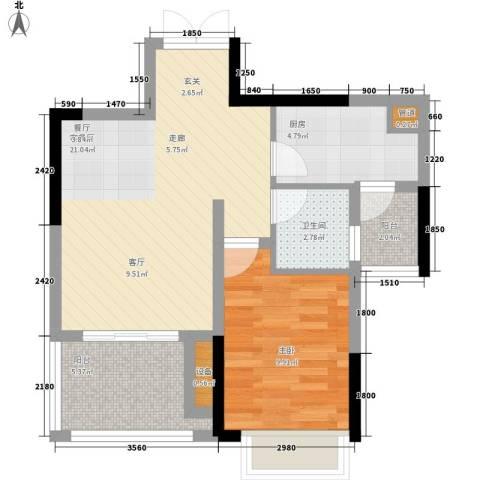 黄金堡宫1室1厅1卫1厨46.75㎡户型图