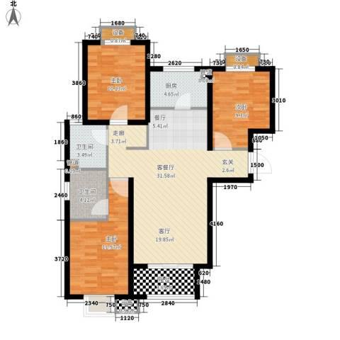龙江秀水园3室1厅2卫1厨117.00㎡户型图