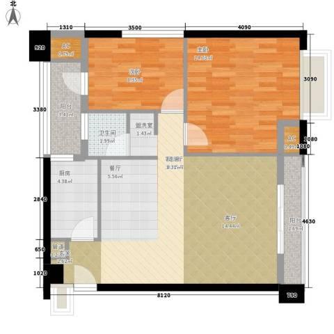 公园西郡大厦2室1厅1卫1厨88.00㎡户型图