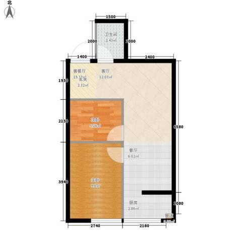 易居・山水豪庭项目2室1厅1卫0厨58.00㎡户型图
