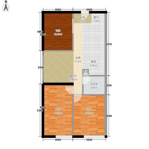 公园西郡大厦3室1厅1卫0厨90.00㎡户型图
