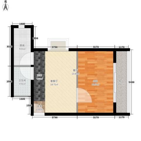 奥林第一城1室1厅1卫1厨67.00㎡户型图