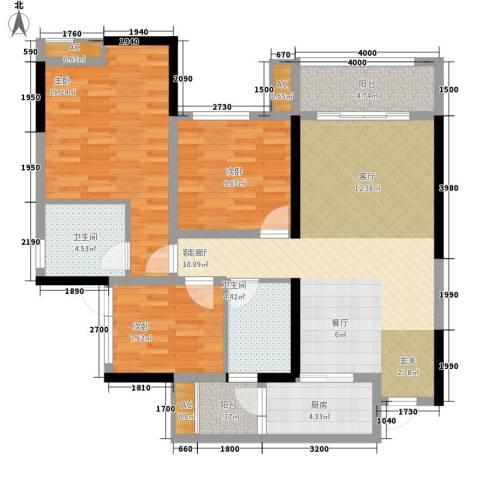 金科中央公园城3室1厅2卫1厨107.00㎡户型图