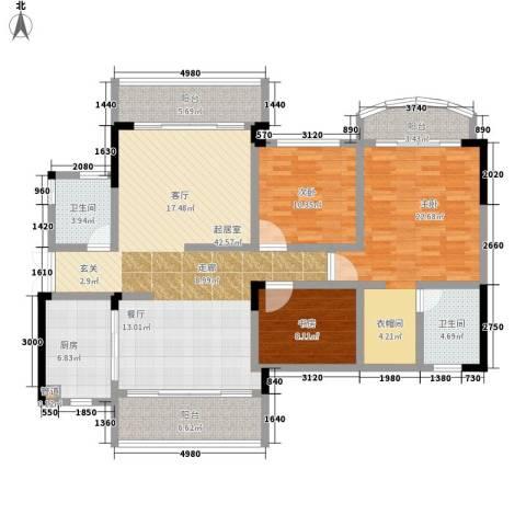 东田丽园五期3室0厅2卫1厨134.00㎡户型图