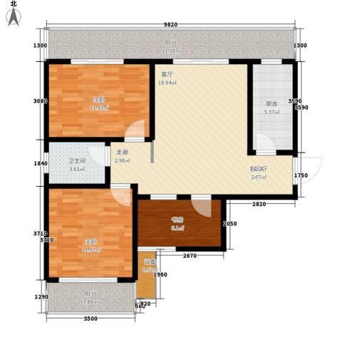 易居・山水豪庭项目3室1厅1卫1厨107.00㎡户型图