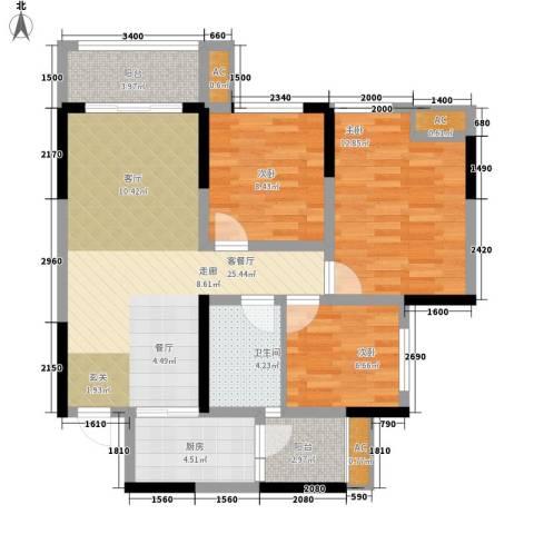 金科中央公园城3室1厅1卫1厨90.00㎡户型图