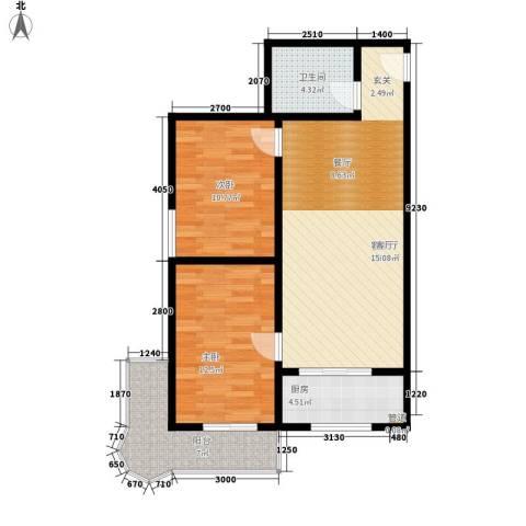 易居・山水豪庭项目2室1厅1卫1厨89.00㎡户型图