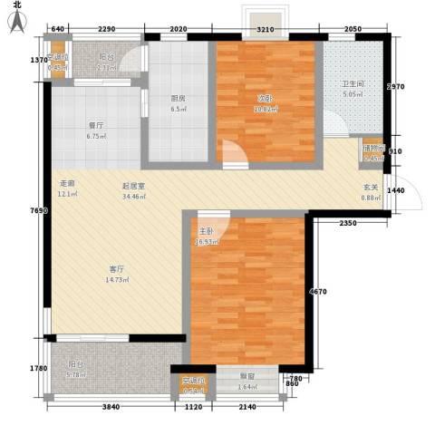 好世鹿鸣苑2室0厅1卫1厨121.00㎡户型图