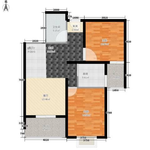 奥林第一城2室1厅1卫1厨120.00㎡户型图