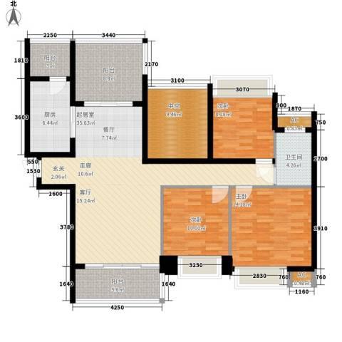 晶蓝上城3室0厅1卫1厨123.00㎡户型图