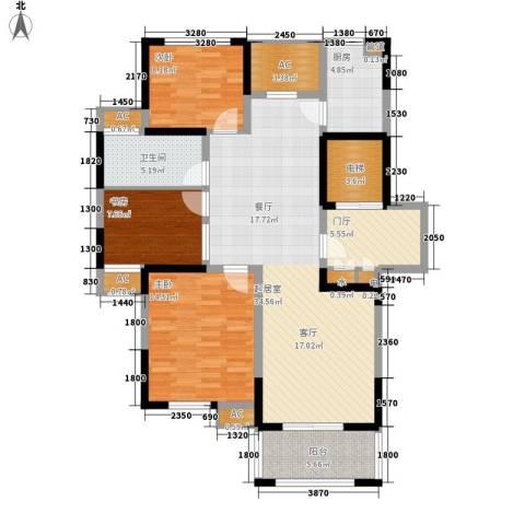 恒熙湖庭3室0厅1卫1厨112.00㎡户型图