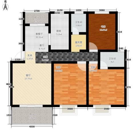 前城御澜湾3室1厅2卫1厨116.00㎡户型图