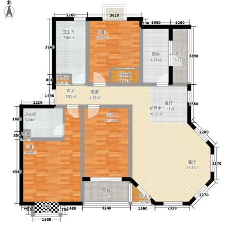 好世鹿鸣苑3室0厅2卫1厨134.00㎡户型图