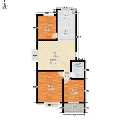 楚天书香门第3室0厅1卫0厨110.00㎡户型图