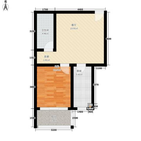 楚天书香门第1室1厅1卫1厨65.00㎡户型图