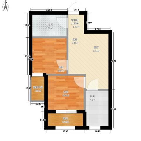 雯君庭2室1厅1卫1厨43.10㎡户型图