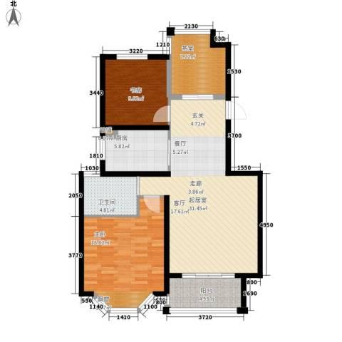 曹路家苑2室0厅1卫1厨92.00㎡户型图
