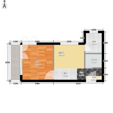 奥林第一城1室1厅1卫1厨51.00㎡户型图