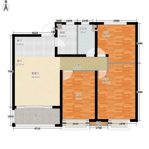 浮来春公馆3室1厅1卫1厨115.00㎡户型图