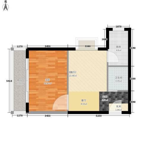 奥林第一城1室1厅1卫1厨71.00㎡户型图