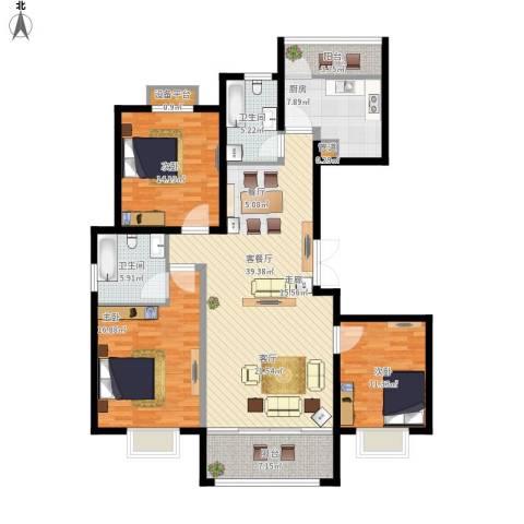 澄波湖壹号3室1厅2卫1厨161.00㎡户型图