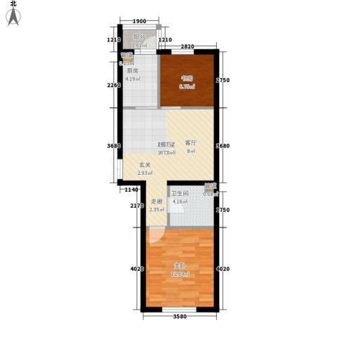 西城国际2室0厅1卫1厨54.81㎡户型图