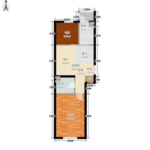西城国际2室0厅1卫1厨60.57㎡户型图