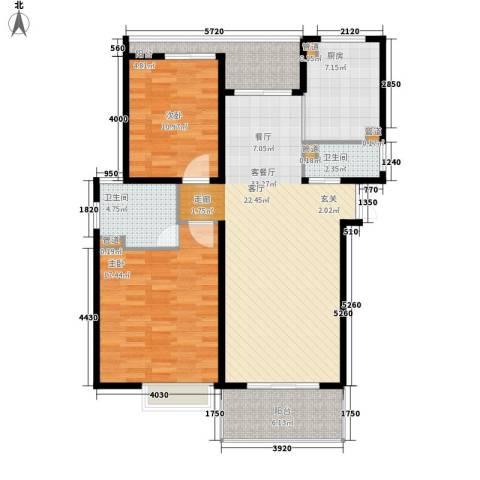 紫荆苑小区2室1厅2卫1厨98.00㎡户型图