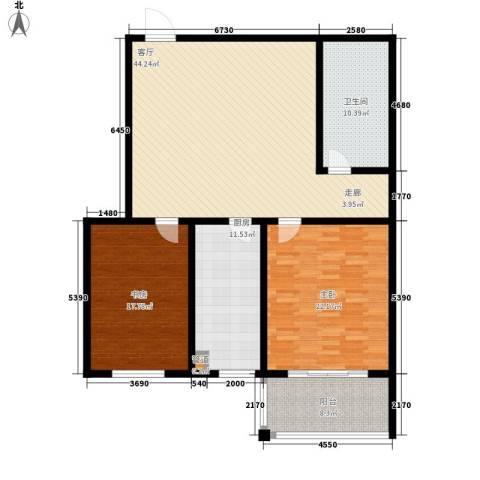 楚天书香门第2室1厅1卫1厨128.00㎡户型图