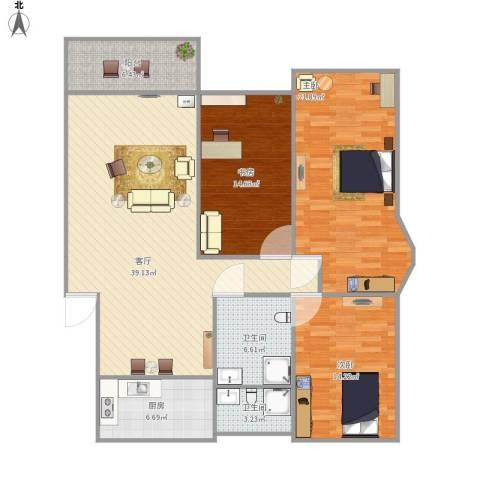 五四公路1120号3室1厅2卫1厨151.00㎡户型图