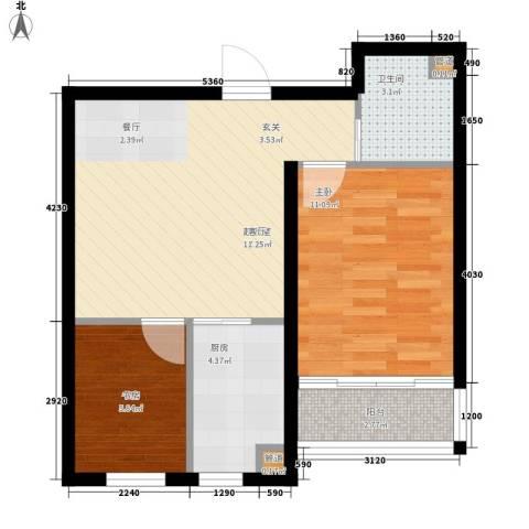 西城国际2室0厅1卫1厨51.42㎡户型图