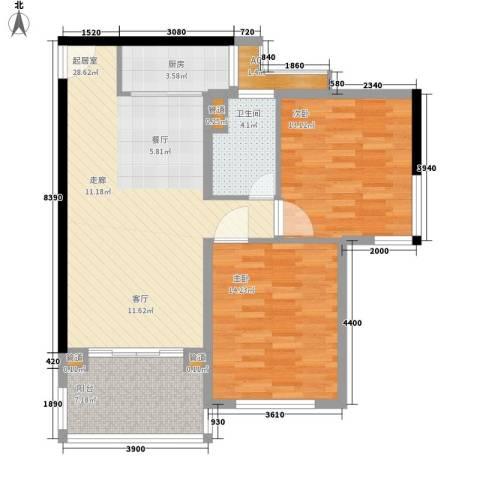 石梅山庄2室0厅1卫1厨93.00㎡户型图