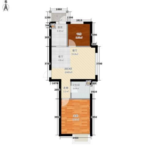西城国际2室0厅1卫1厨52.89㎡户型图