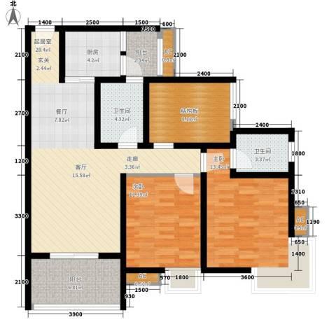 九鼎蓝波湾2室0厅2卫1厨97.00㎡户型图