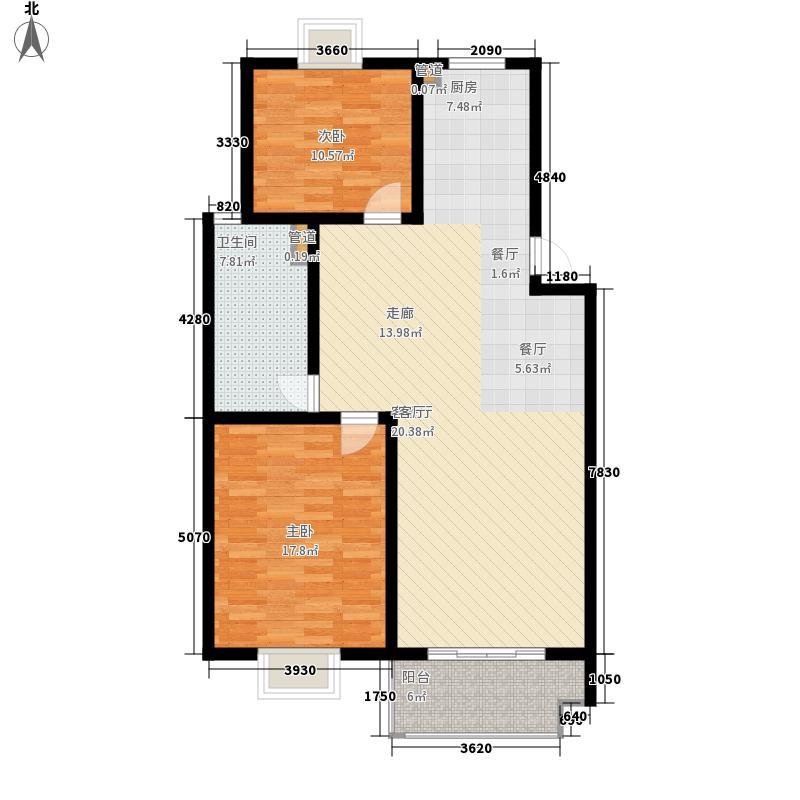 二泉东园104.60㎡E户型2室2厅1卫1厨