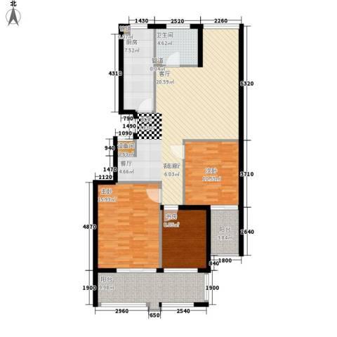 盛唐世家3室1厅1卫1厨109.00㎡户型图