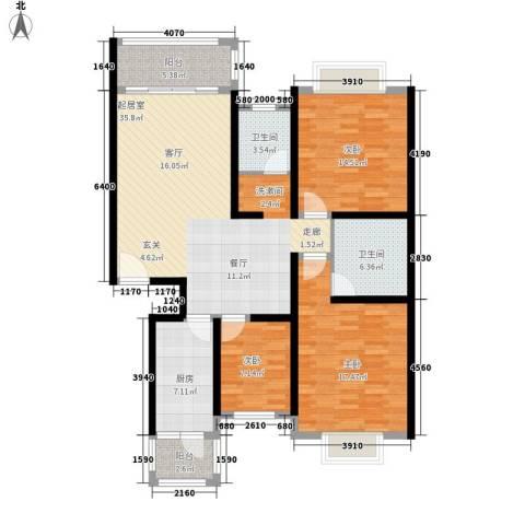 春天花园3室0厅2卫1厨118.00㎡户型图