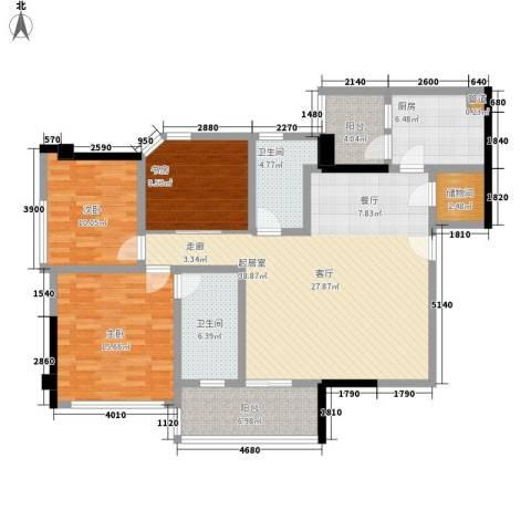 翠竹苑3室0厅2卫1厨122.00㎡户型图