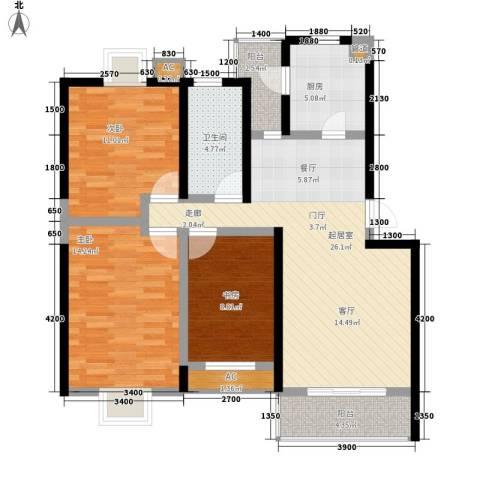 幸福大街3室0厅1卫1厨96.00㎡户型图