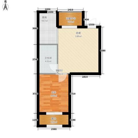 雯君庭1室1厅1卫1厨46.00㎡户型图