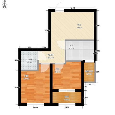 雯君庭2室1厅1卫1厨46.03㎡户型图