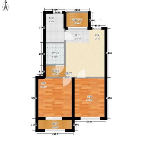 雯君庭2室1厅1卫1厨57.00㎡户型图