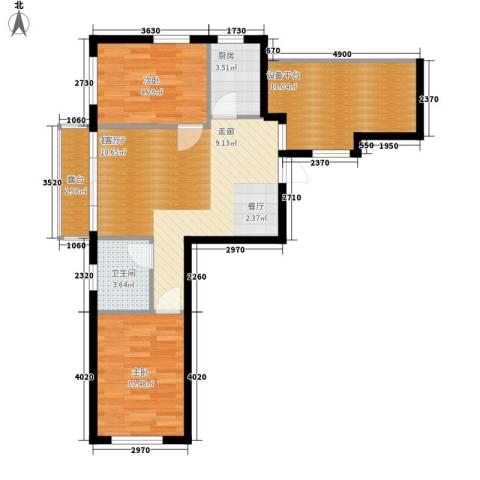 雯君庭2室1厅1卫1厨70.96㎡户型图