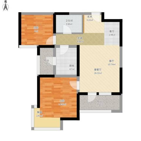 天津湾海景文苑2室1厅1卫1厨95.00㎡户型图