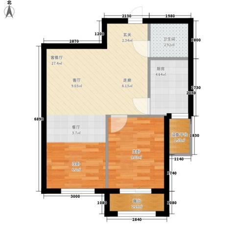 雯君庭1室1厅1卫1厨54.19㎡户型图