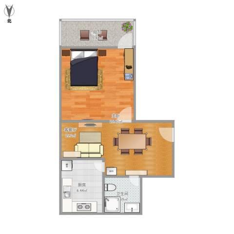 宁海里1室1厅1卫1厨62.00㎡户型图