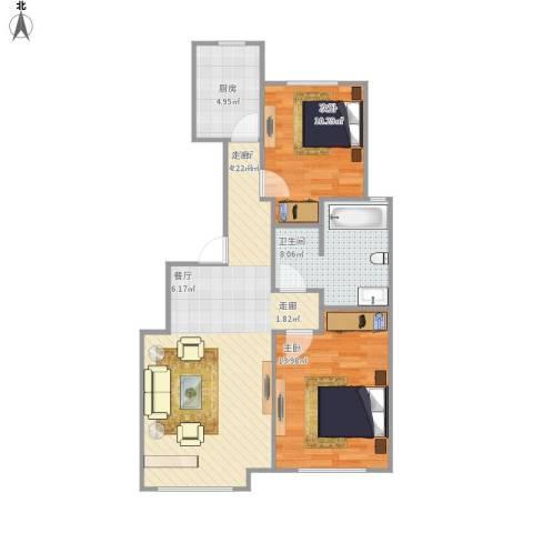 中交樾公馆2室1厅1卫1厨87.00㎡户型图