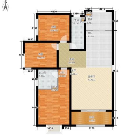 浮来春公馆3室1厅2卫1厨132.00㎡户型图
