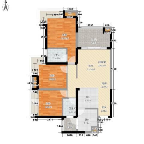 世家城南一号3室0厅2卫1厨107.00㎡户型图