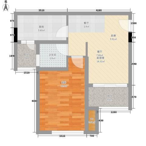 世家城南一号1室0厅1卫1厨58.00㎡户型图